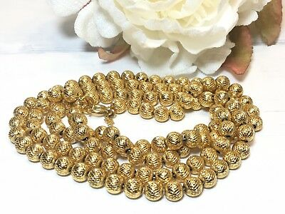"Vintage Trifari Gold Tone Brushed Texture Beads 33"" Necklace"