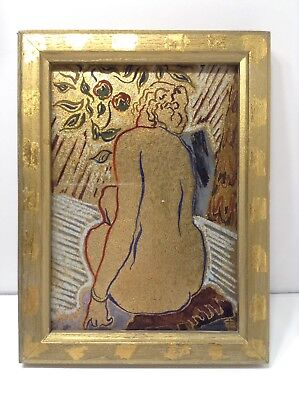"Watercolor & Pastel And Gold Leaf Art Painting Tittle ""Diane De Dos"" Signed"