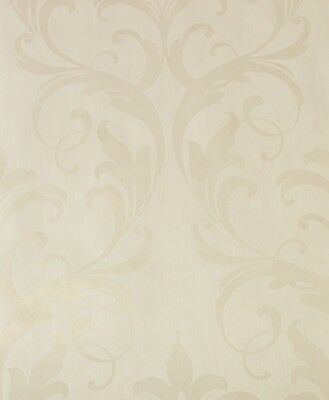 Classic Shimmering Damask Ivory White Wallpaper 601558 Luxury Heavyweught Vinyl