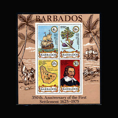 Barbados, Sc #431a, MNH, 1975, S/S, Ships, Map, Fig Tree, SH152F