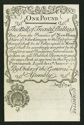 New Hampshire - April 1, 1737 redated August 7, 1740 - 20 S