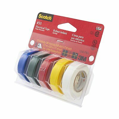 "3M 10457NA 5 Rolls #35 Assorted Color Electrical Tape 1/2"" x 240"" USA"