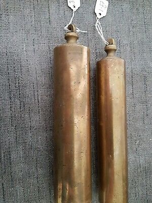 ANTIQUE BRASS VIENNA.C WALL CLOCK WEIGHTS PAIR 0.8 + 1.6kgs