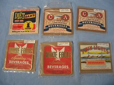 Vintage Lot of 60 Beverage Bottle & Neck Labels NOS