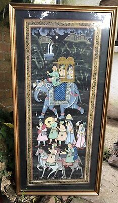 "Vintage Original Indian Silk Hand Painted Large 16""x33"" Framed Unsigned Painting"