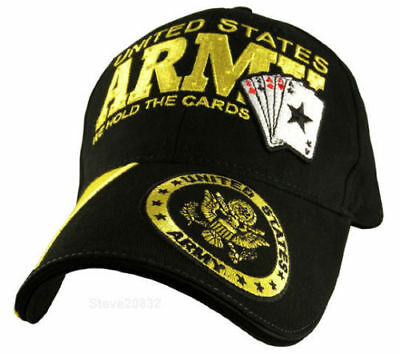 """U.S. Army """"We Hold the Cards"""" Baseball Cap Hat and Army Lapel Pin.  Brand New!!"""