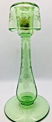 Antique Decorative Depression  Green Cut Frosted Glass Candle Stick Holder