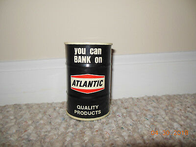 VINTAGE Atlantic Richfield Co Motor Oil Drum Gas Can Tin Coin Bank Advertising