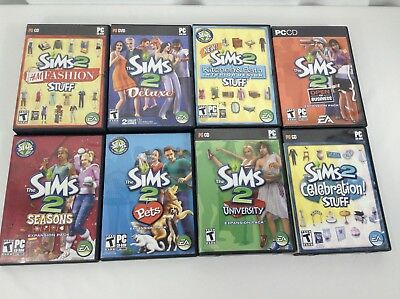 Sims 2 Deluxe Lot of 8 PC Games Expansions Fashion, Business, University, Pets