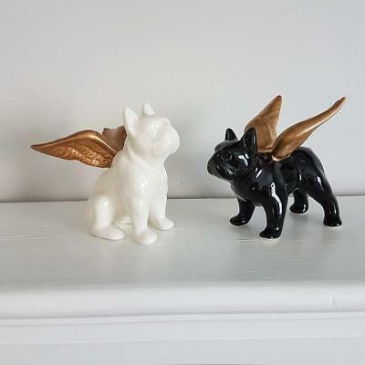 Pair Of Small Ceramic Black & White Bulldog With Gold Wings Ornament Decoration