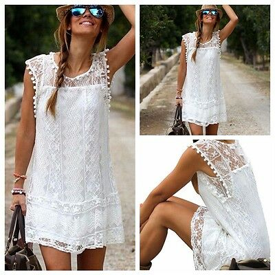 Women White Lace Dress Summer Casual Sleeveless Cocktail Dresses Party Evening