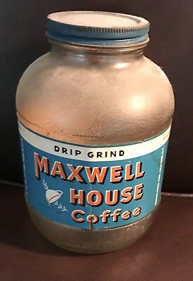 vintage Drip Grind MAXWELL HOUSE anchor hocking GLASS COFFEE JAR~paper label