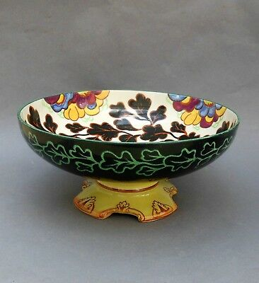 Art Deco Royal Doulton Footed Fruit Bowl ~ D5210 Leaf & Floral Pattern / English