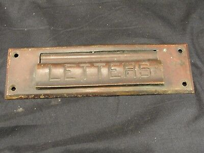 Antique Patinated Brass Letter Mail Post Slot- Architectural Salvage Boston