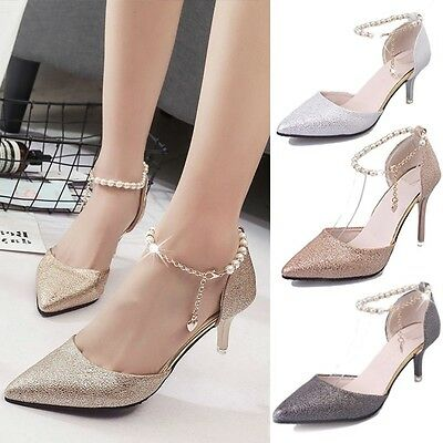 New Womens Stiletto Sandals Pointy Toe Ankle Beaded Chain Strap High Heel Gift