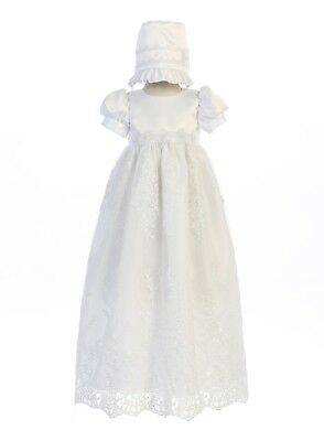 Baby Girls White Long Dress Satin Embroidered Tulle Gown Christening Baptism New