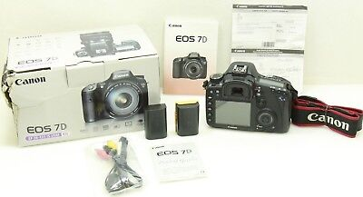 Canon EOS 7D 18.0MP Digital SLR Camera Body Only w/ 2 Batteries - Shutter 12,817