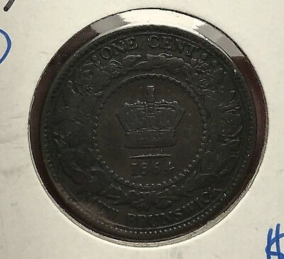 1864 NEW BRUNSWICK One Cent Penny Large Coin. Collector Coin for Collection.1
