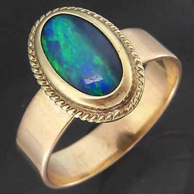 Vintage Solid 9k Yellow Oval Bezel Setting on Rose GOLD BAND OPAL RING Sz M