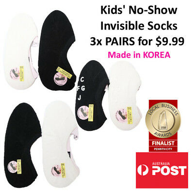 Children's Cotton No-Show Invisible Socks 3x PAIRS FOR $9.99 MADE IN KOREA