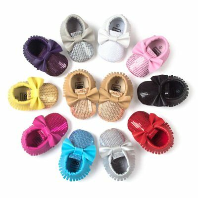 UK Toddler Baby Boy Girl Crib Moccasin Shoes Soft Soled Leather Shoes Comfy