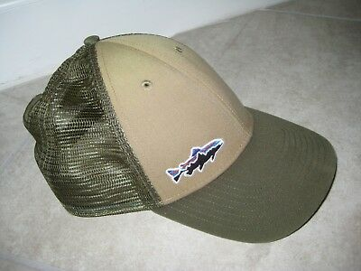 0a0300f453 Vintage PATAGONIA Fish Trout Fishing Green Mesh Trucker Hunting Dad Cap Hat