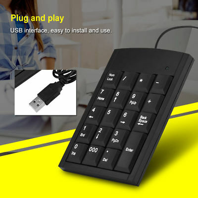 Portable Wired Digital Keyboard USB Number Pad 19 Keys Numeric Keypad For PC