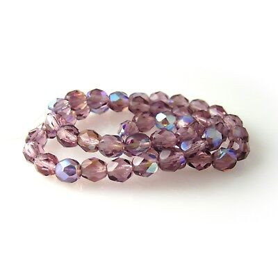 Light Amethyst Purple Vitral 25 8mm Round Faceted Czech Glass Fire Polish Beads