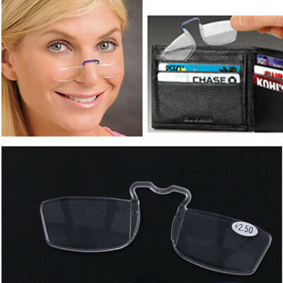 Pocket Clip On Nose Mini Reading Glasses Square Emergency +1.00 1.5 2 2.5 +3.00