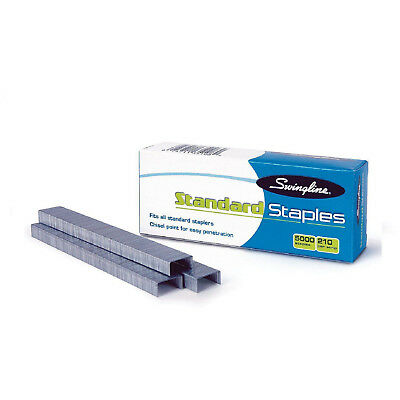 "Swingline Standard Staples 1/4"" Length 210 Per Strip 5,000/Box 5 Boxes"