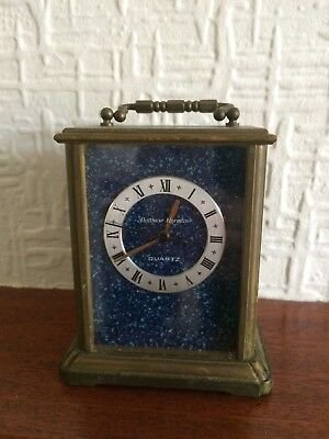 Matthew Norman Vintage Blue Swiss Carriage Clock - Working Condition
