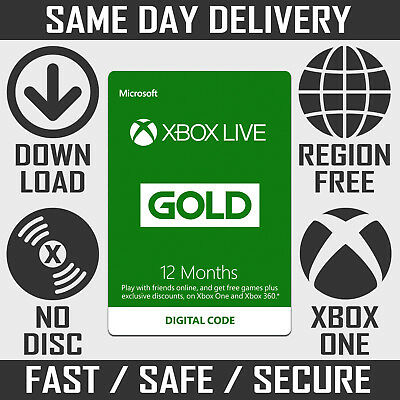 12 Month Xbox Live Gold Membership / Subscription Code for Xbox One & Xbox 360
