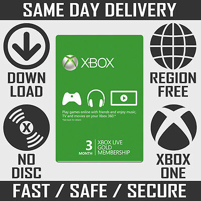 3 Month Xbox Live Gold Membership / Subscription Code for Xbox One & Xbox 360