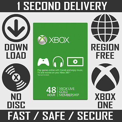 Xbox Live Gold Membership - 48 Hours / 2 Days Trial for Xbox One & Xbox 360