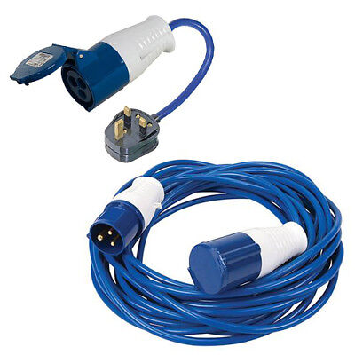 14M Caravan Hook Up Cable 16A Extension Lead & Mains Plug Adaptor