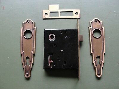 "Vintage NOS Art Deco Mortise Lock 5 1/4"" Face Plate W.C.Vaughan Boston"