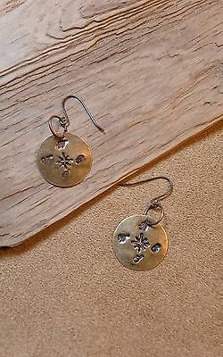 Longhunter's Compass Earrings, Bronze Color, F&I, Rev War, Eastern Woodlands