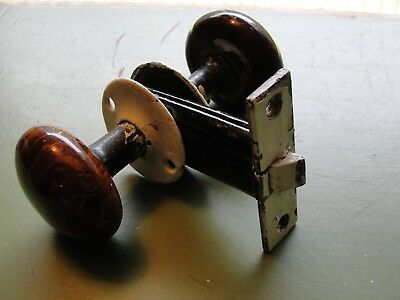 Antique M.W Co. Mallory & Wheeler Co. Mortise Knob Latch New Haven, CT. Brown
