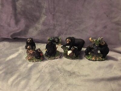 Decorative Collectible Black Mother Bear & Baby Bear Figurine Set Of Four