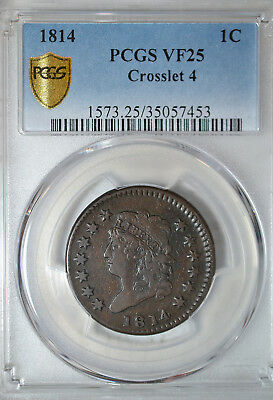 1814 Classic Head large cent, Crosslet 4, PCGS VF25