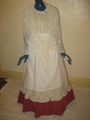 1X 3X Pioneer Colonial Prairie Frontier Trek Country Dress Shawl & Apron Women W