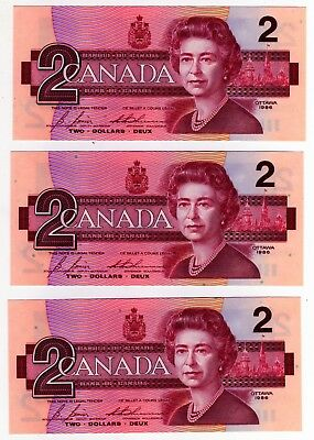 1986 Canada 2 Dollar Notes - 3 in Sequence - EGS0682501/02/03, BC-55c-i