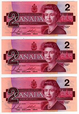 1986 Canada 2 Dollar Notes - 3 in Sequence - EGS0682504/05/06, BC-55c-i