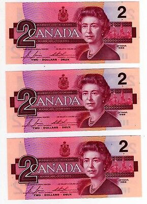 1986 Canada 2 Dollar Notes - 3 in Sequence - EGS0682507/08/09, BC-55c-i
