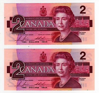 1986 Canada 2 Dollar Notes - 2 in Sequence - CBH7717458/59, BC-55c