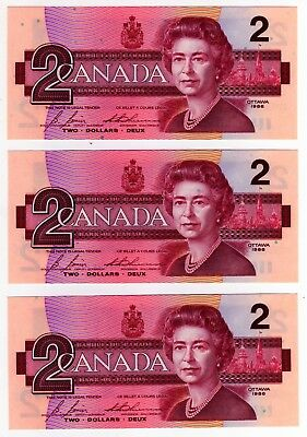 1986 Canada 2 Dollar Notes - 3 in Sequence - EGS0682510/11/12, BC-55c-i