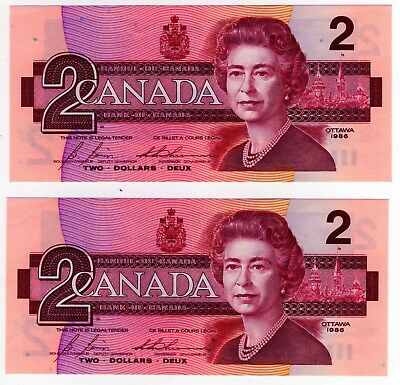 1986 Canada 2 Dollar Notes - 2 in Sequence - CBK7179307/08, BC-55c