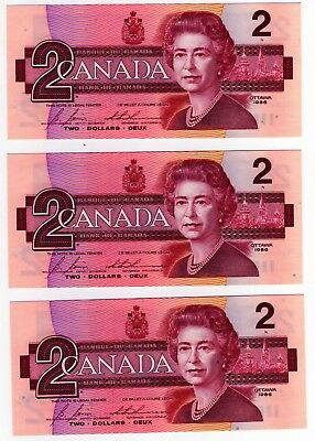 1986 Canada 2 Dollar Notes - 3 in Sequence - CBJ1145181/82/83, BC-55c