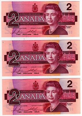 1986 Canada 2 Dollar Notes - 3 in Sequence - CBJ1145184/85/86, BC-55c