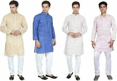 Men-Solid-Color-100 % Khadi Cotton Material-Kurta-Pyjama-Set-Size-S-7XL